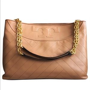 Tory Burch Slouchy Tote Leather Cardamom color